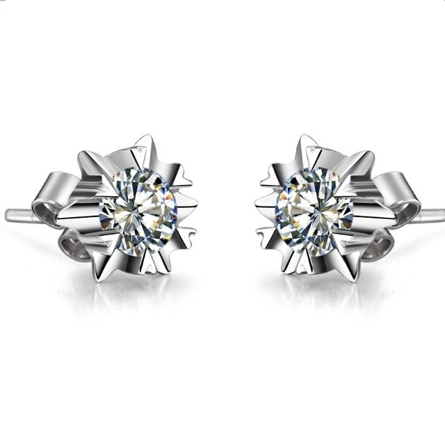 Earrings AU585 Stud Jewelry Solitaire G14K Gold White Engagement Snowflake Female