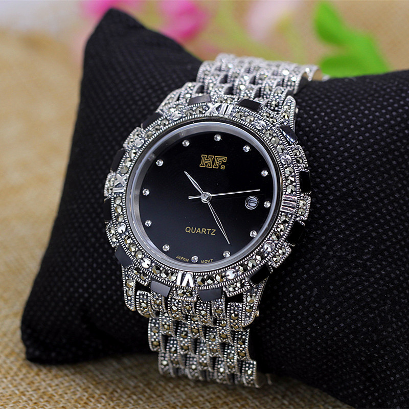 Vintage Thai Argent S925 Sterling Bijoux En Argent En Gros Thai Artisanat Argent Hommes Et Femmes Quartz bracelet de montre