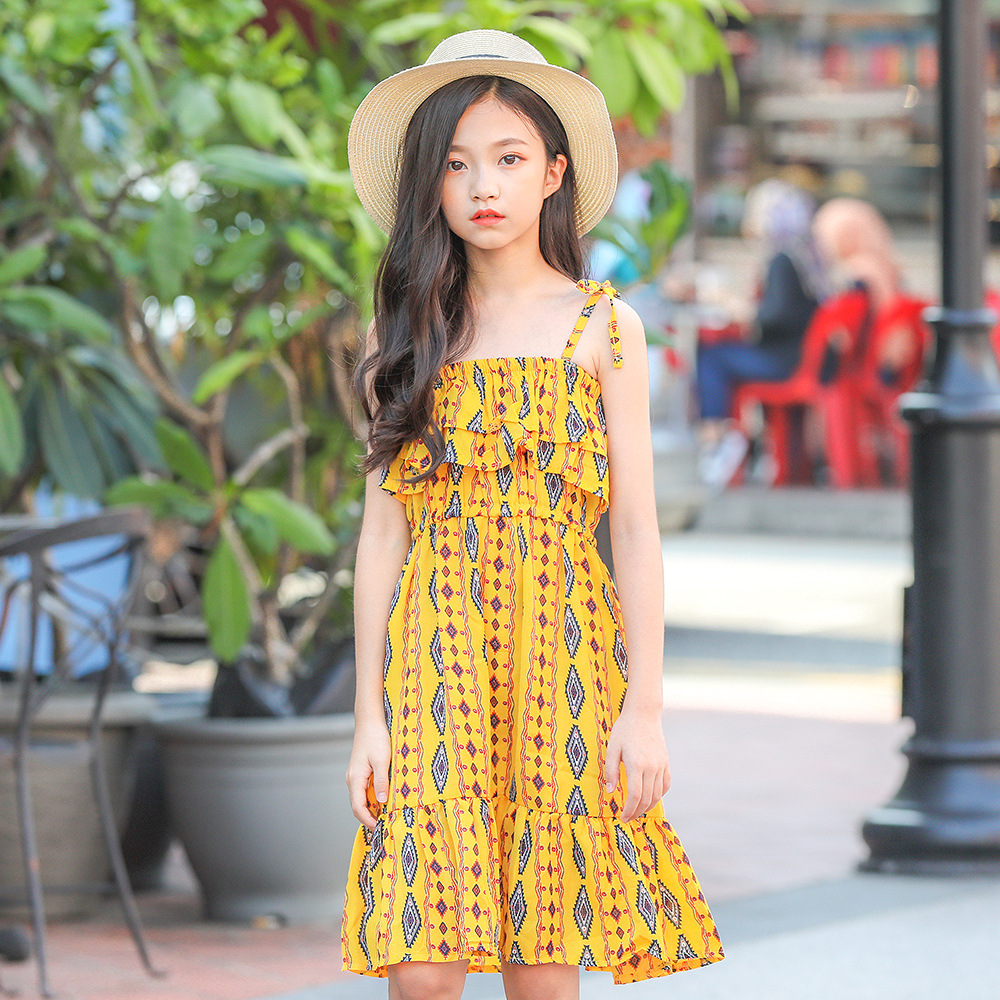Floral Print Chiffon Dress Teenage Girls Clothing 7 Summer Dresses  Casual Party Dress for Kids Girl Vestidos Girls Clothes