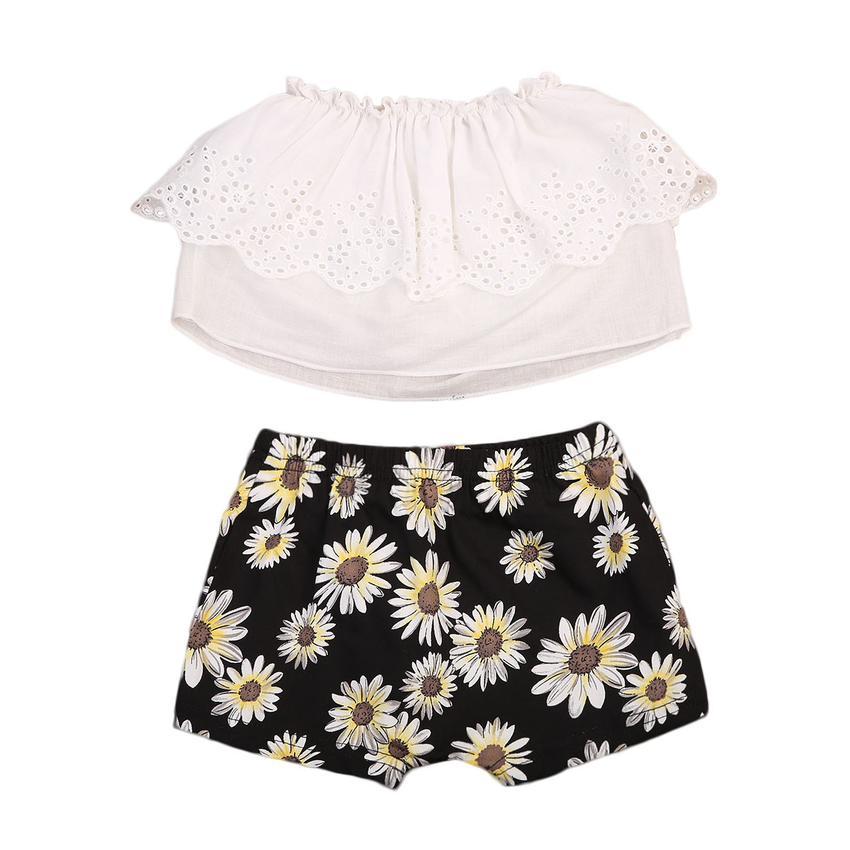 Newborn Infant Baby Girls Clothes Off Shoulder Lace Tops Sunflower Shorts 2Pcs Outfit Summer Cute Baby Sets