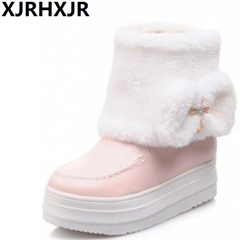 Winter Women Boots Warm Ankle Snow Boots 2018 Girls Platform Shoes Women Slip On Flats Creepers Comfort Cotton Shoes Size 34-43 brand fur warm martin boots snow shoes winter wild motorcycle boots women lace up flats ankle boots for women slip on shoes 2017