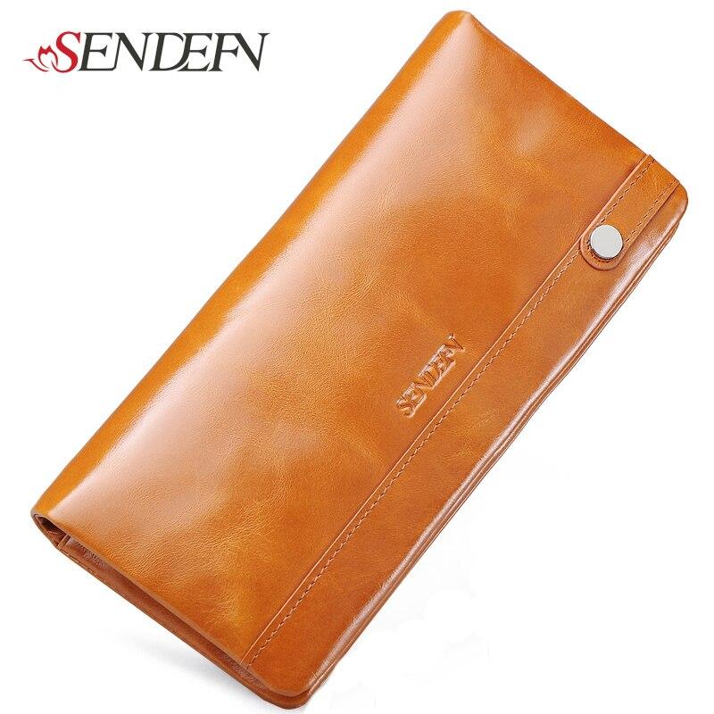 100% Genuine Leather Women Wallet Vintage Large Capacity Long Designer Women Wallets Brand Lady Clutch Cards Holder Purse
