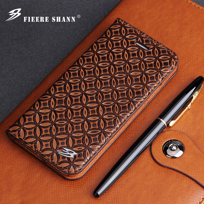 Fashion Copper Money Pattern Genuine Leather Flip Case For iPhone X XS 6 6S 7 8 Plus For Samsung S8 Plus Card Slot Wallet Cover
