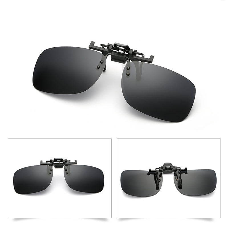Classic Shape Polarized Clip On Sunglasses Driving Night Vision Lens Anti-UVA Anti-UVB Cycling Riding Glasses Clips