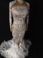 Sexy Sparkly Cristalli AB Feather Dress Donna Summer Party Costume Usura di Prestazione Della Fase Danza Strass Signore Vestiti Lunghi