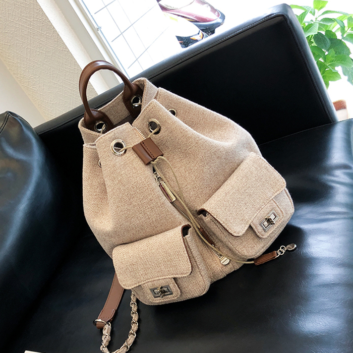 Cotton and linen BACKPACK  female 2019 new female bag summer small fragrance style fashion trend leisure bag canvas travel baCotton and linen BACKPACK  female 2019 new female bag summer small fragrance style fashion trend leisure bag canvas travel ba