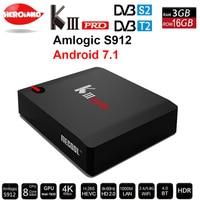 DVB-C MECOOL KIII PRO DVB-S2 DVB-T2 Android 7.1 TV Box 3 GB 16 GB Amlogic S912 Octa Rdzeń 4 K Combo clines NEWCAMD Biss key PowerVU