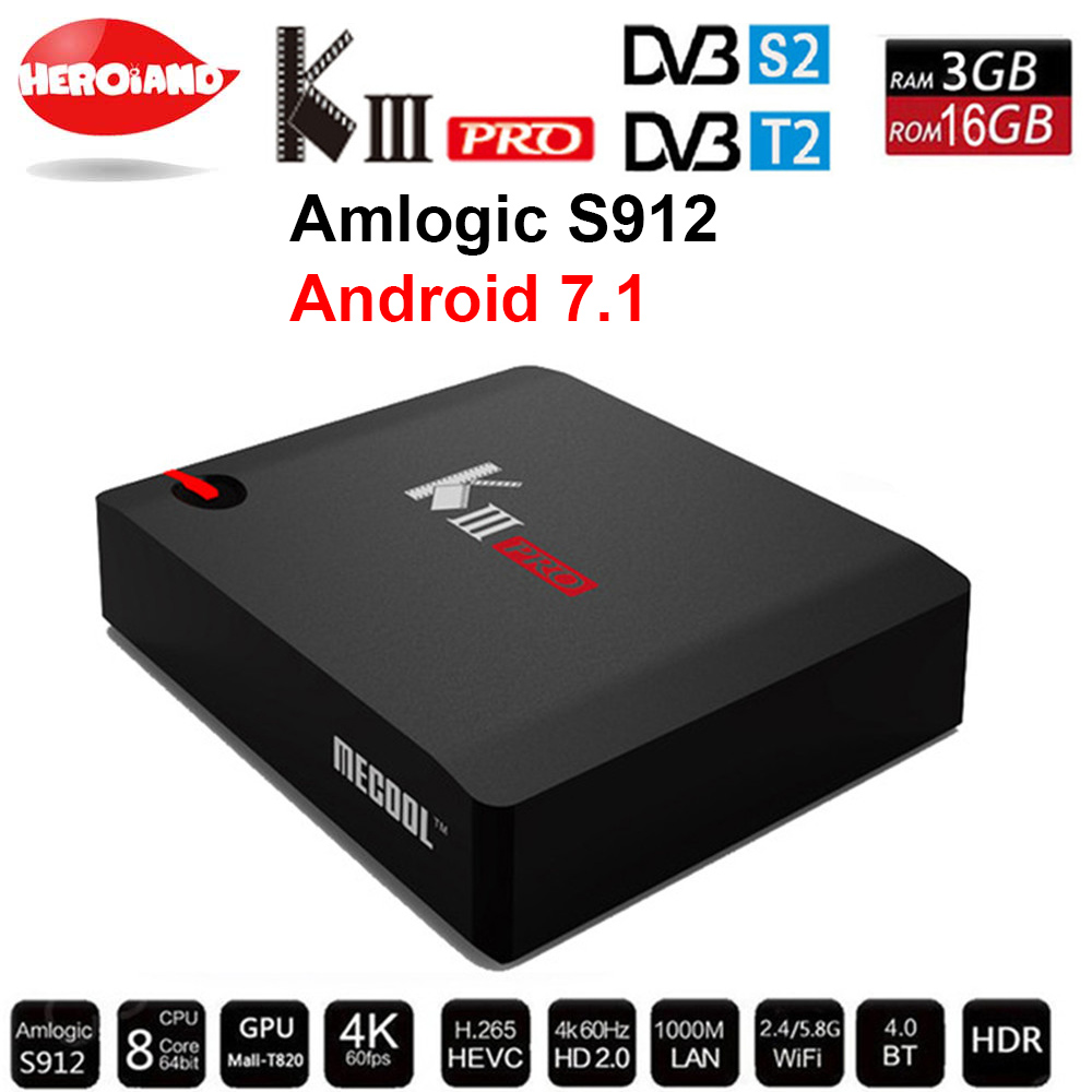 MECOOL KIII PRO DVB-S2 DVB-T2 DVB-C Android 7.1 TV Box 3GB 16GB K3 Pro Amlogic S912 Octa Core 64bit 4K Combo Cline NEWCAMD цена