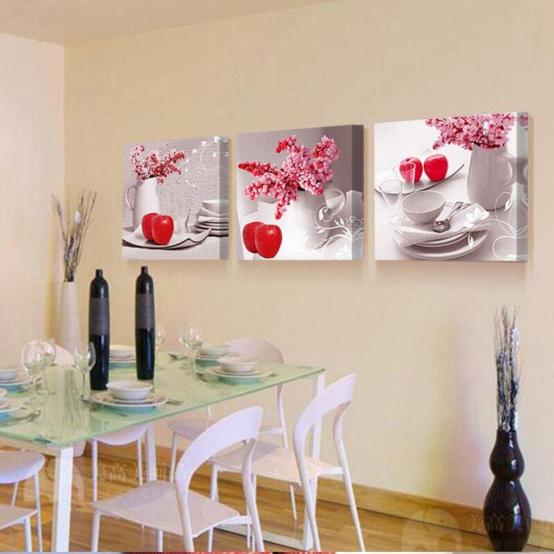 No Marcos) 3 paneles moderno restaurante pintura sobre lienzo la ...