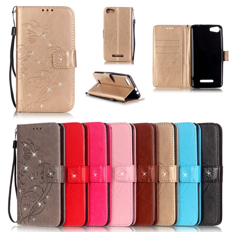 Bling Book Flip Leather Wallet Flip Butterfly Case Cover For Wiko Lenny 2 3/Fever 4G/Pulp 4G/Sunset 2/Rainbow Lite 4G Bags+Strap