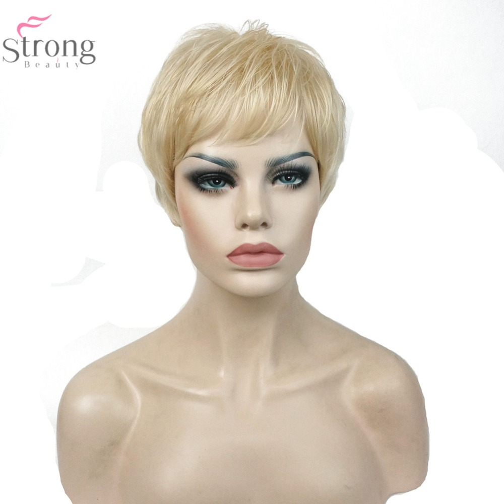StrongBeauty  613 Blonde Wig Very Short Straight Hairstyles Hair Women s  Synthetic Wigs f1a20c05fd