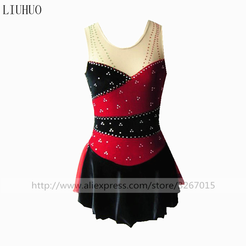 Figure Skating Dress Women's Girls' Ice Skating Red and black collocation Sleeveless collar Flowers fringe pattern drilling
