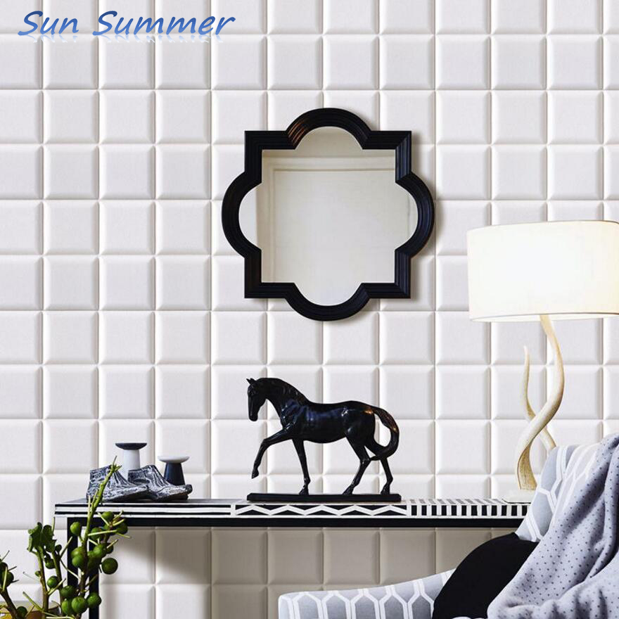 Self adhesive creative mosaic soft 3D embossed wall sticker Living room wall waterproof collision 60*60cm/pc
