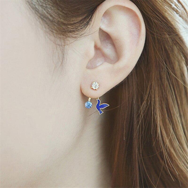 classic Rhinestone Birdie metal Enamel Drop Earrings Beautifully women bird crystal Drop Earrings girls Jewelry Accessory Gift