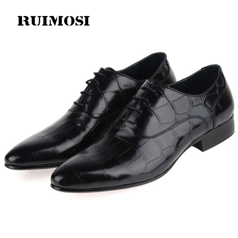 RUIMOSI Luxury Brand Man Dress Stone Print Shoes Genuine Leather Oxfords Pointed Toe Men's Handmade Male Flats For Bridal JD91
