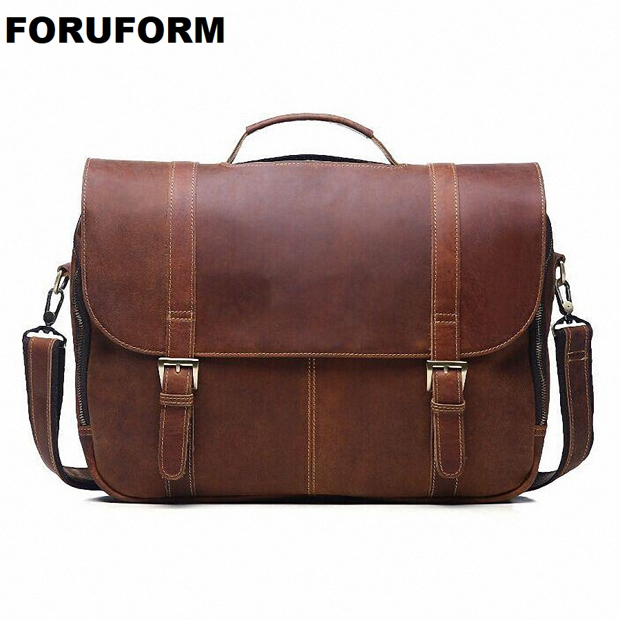 fdbfb49a48ee1 Crazy Horse Genuine Leather Briefcase Men Laptop Bag Vintage Designer  Leather Messenger Bag Tote Crossbody Shoulder Bags LI 1388-in Briefcases  from Luggage ...