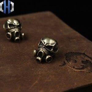 Image 2 - Paracord Beads Brass Skull Anti virus Mask Knife Beads Pure Copper EDC Pendant Beads DIY Flashlight Falls Rope Pendant Keychain