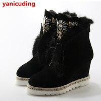 Mát Nữ Ankle Boots Cao Top Ấm Ngắn Plush Winter giày Pha Lê Tôn Tạo Chaussures Femmes Lại Zip Front Lace Up khởi động