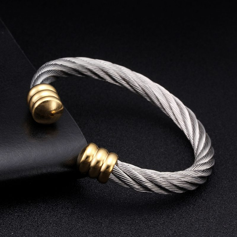 Luxury Braided Charm Open Cuff Men Women Sporty Bangles Silver Jewelry Classic Smooth Stainless Steel Vintage Bracelets