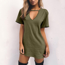 Fashion Womens Summer Short Sleeve Casual Loose Long Tops Mini T-shirt Dress