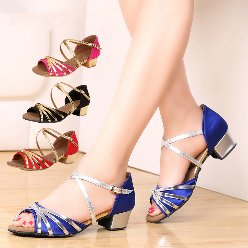 Office & School Supplies Adroit 2018 New Sandals Low Heel Latin Dance Shoes Ladies Soft Sole Blue Black Red Pink Color Popular Sexy Salsa Ballroom Dance Shoes