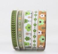16mm/9mm Fiori Nastro di Raso Verde Stile tessuto jacquard ribbon festival pacchetto accessori 18 M/lotto
