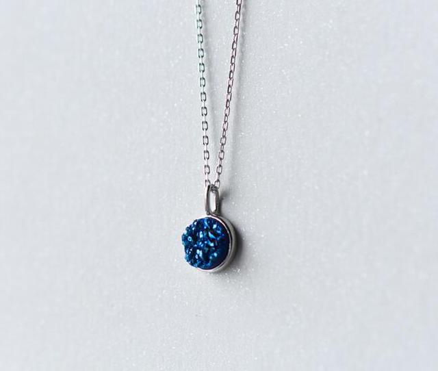 1pc authentic 925 sterling silver jewelry love blue stone setted 1pc authentic 925 sterling silver jewelry love blue stone setted round necklace pendants chain x1177 aloadofball Image collections