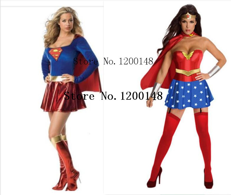 free shipping Super Girl Ladies Wonder Woman Costume Fancy Dress Women Halloween custome ...