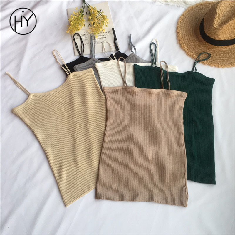Acinth Girl Hy Tank Top Women Plain Casual Solid Black 6 Colors Camis Halter Top 2018 Top Tank Womens Fitness Cool Summer Tops