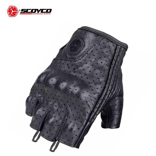 SCOYCO Мотоциклетные Перчатки Кожаные мотокроссы внедорожные гоночные перчатки мотоциклетные перчатки на половину пальцев Luva Couro Motoqueiro