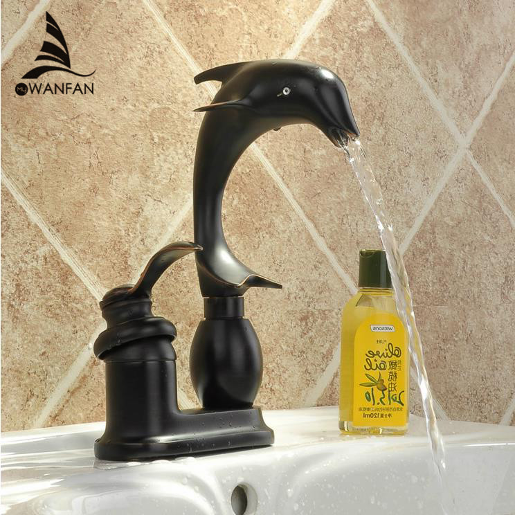 ФОТО Luxury Oil Rubbed Bronze Black Jump Dolphin Style Single Handle Bathroom Vessel Sink Basin Faucet Mixer Taps MD-194R