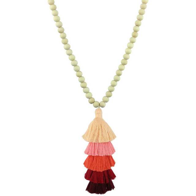 Round Natural Wood Beads Tassel Necklace 10mm