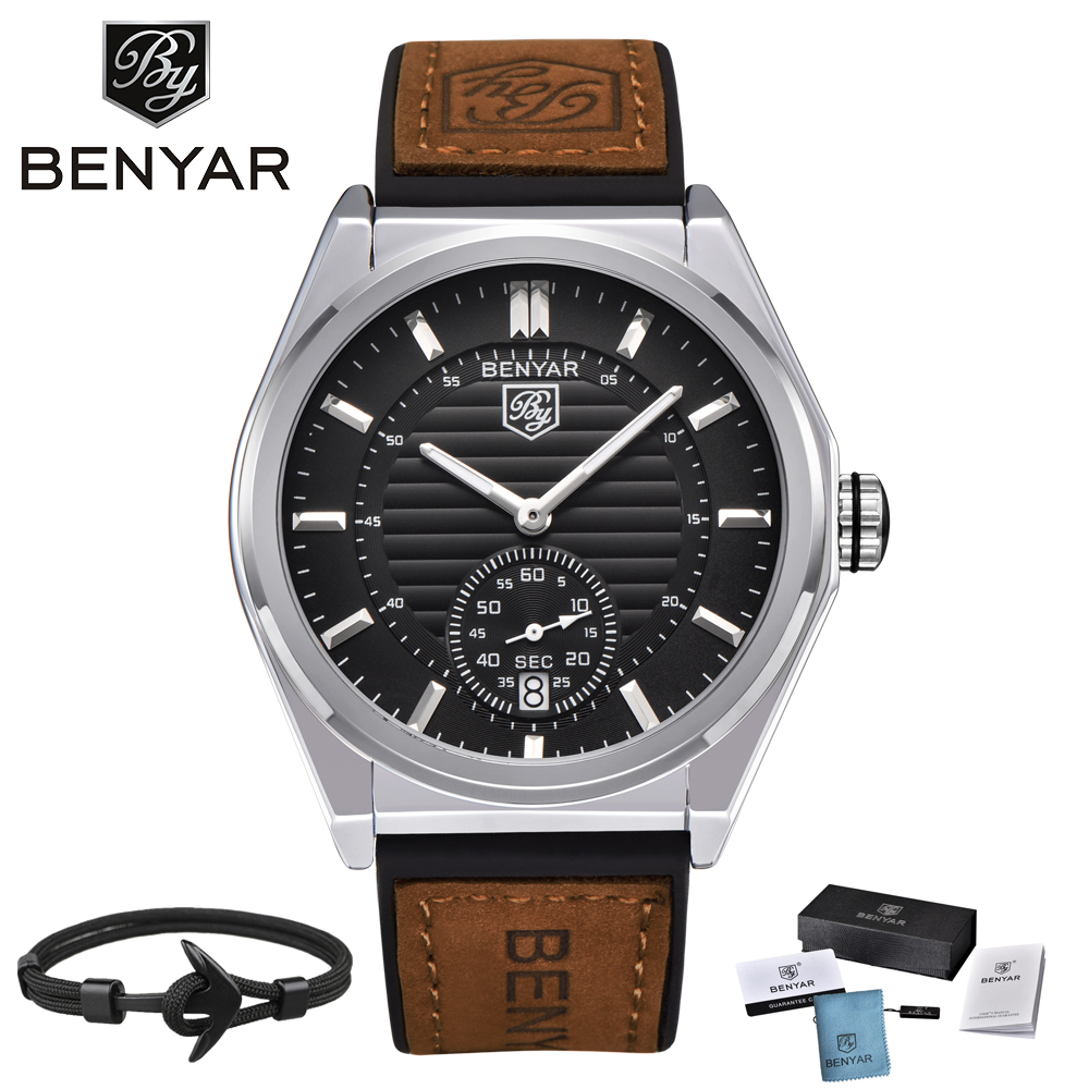 Men Watch BENYAR Luxury Brand Sports Quartz Military Leather Watches Men Clock Relogio Masculino erkek kol saati Dropshipping megir original watch men top brand luxury quartz military watches leather wristwatch men clock relogio masculino erkek kol saati