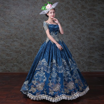 8101e3b19c7 100%real vintage blue royal embroidery medieval dress queen Renaissance  ball gown princess Victorian cosplay