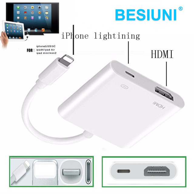 13bc777ee13 Lighting to HDMI / HDTV TV Digital Cable Adapter for Apple iPhone 5 5s 6 6s