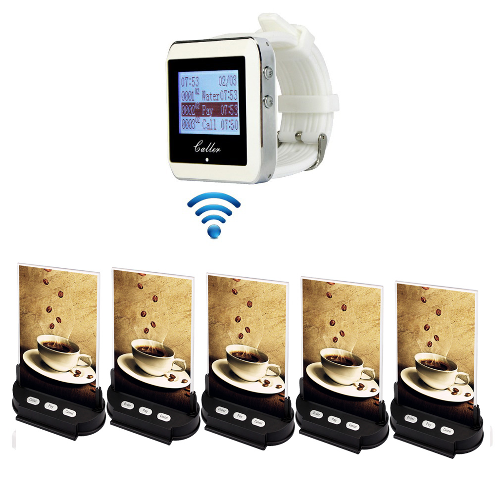 Restaurant Calling System Wireless Pager 1 Watch Receiver+5 Table Call Transmitter Button Waiter Call Catering Equipments F3365 wireless restaurant calling system waiter call system guest watch pager 3 watch receiver 20 call button restaurants equipments
