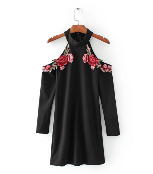 6b97ccf18d US $14.5 9% OFF|Sexy Red Rose Flower 3D Appliques Embroidery Off Shoulder  Sheath Dress Vintage Woman Long sleeve Package Hips Dresses Black-in  Dresses ...