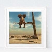 Éléphant Se Dresse Sur Branche D'arbre Toile Art Imprimer Mur Photo, surréalisme Toile Peinture Art Affiche Décor À La Maison