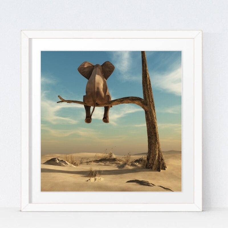 Elefanten Steht Auf Ast Leinwand Kunstdruck Wand Bild, surrealismus ...