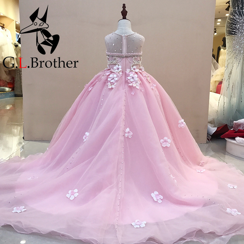 Real Picture Princess Dress Ball Gown Beading Dress Kids Evening Gown Luxury Flower Girl Dresses For Wedding Long Trailing luxury princess dress evening gowns birthday floral pearl beading girls formal dress detatchable trailing flower girl dresses b page 3