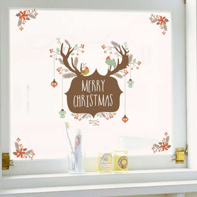 Merry Christmas Elk Birds Gift Wall Stickers For Kids Rooms Store Window Cartoon Animals Wall Decals Art Diy New Year Posters