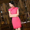 TIC-TEC women cheongsam short qipao modern chinese traditional dress oriental dresses evening elegant pink party clothes P2864