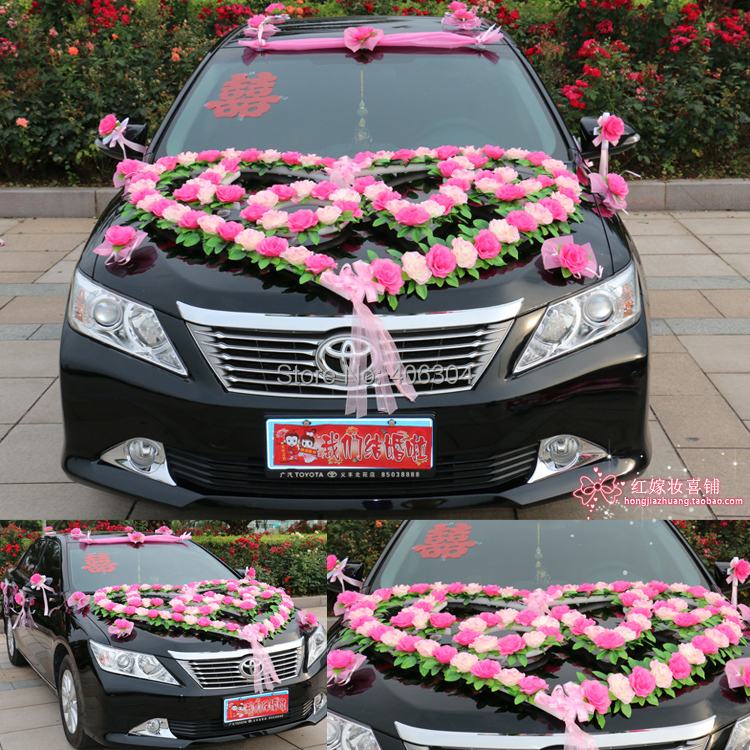 decoration mariage voiture coeur