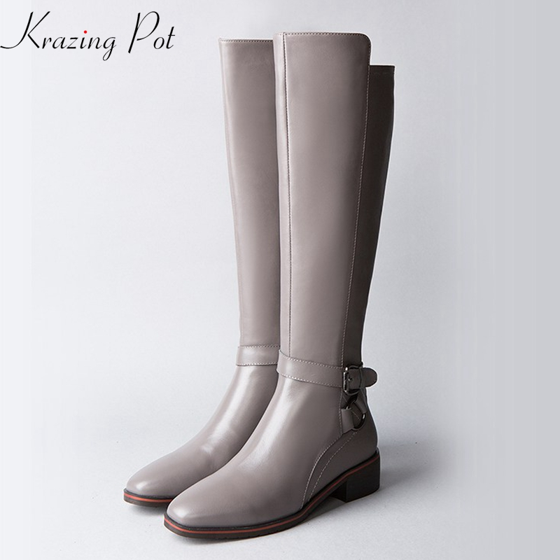 Krazing Pot 2018 genuine leather metal buckle fasteners round toe med heel western uniform Equestrian boots thigh-high boots L13 krazing pot genuine leather 2018 round toe high heels metal fasteners motorcycle boots mature women round buckle ankle boots l26