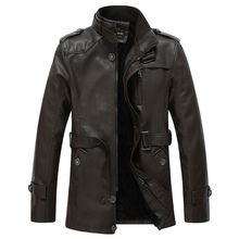 Winter Warm Men Pu Leather Jacket Faux Fur Long Leather Coats Brand Quality Motorcycle jackets jaqueta de couro 4XL