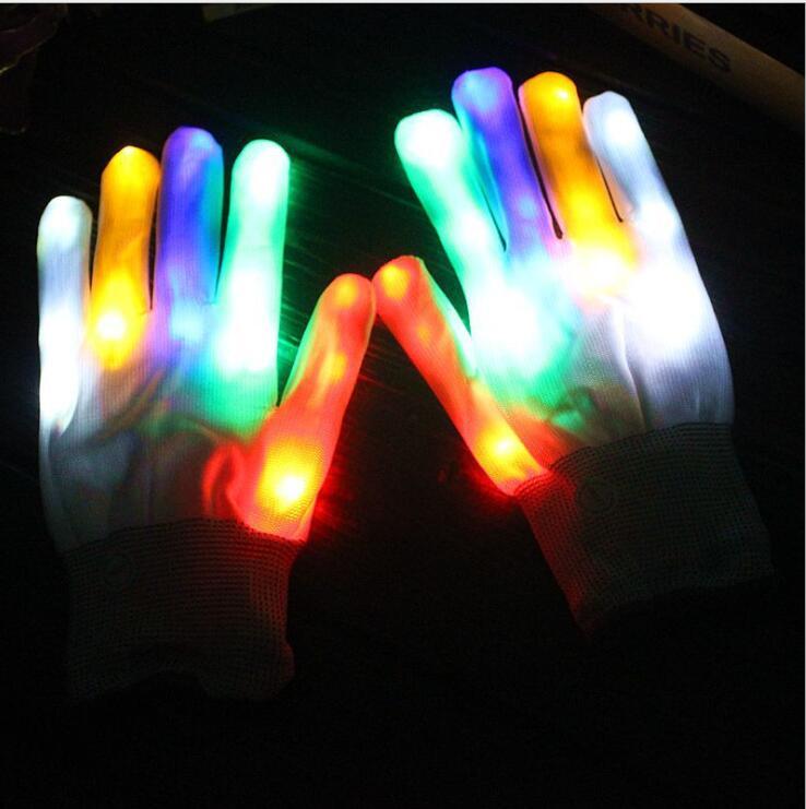 New Kids Fingertip Led Gloves Rainbow Flash Light Glow Stick Gloves Mittens Online Discount Apparel Accessories