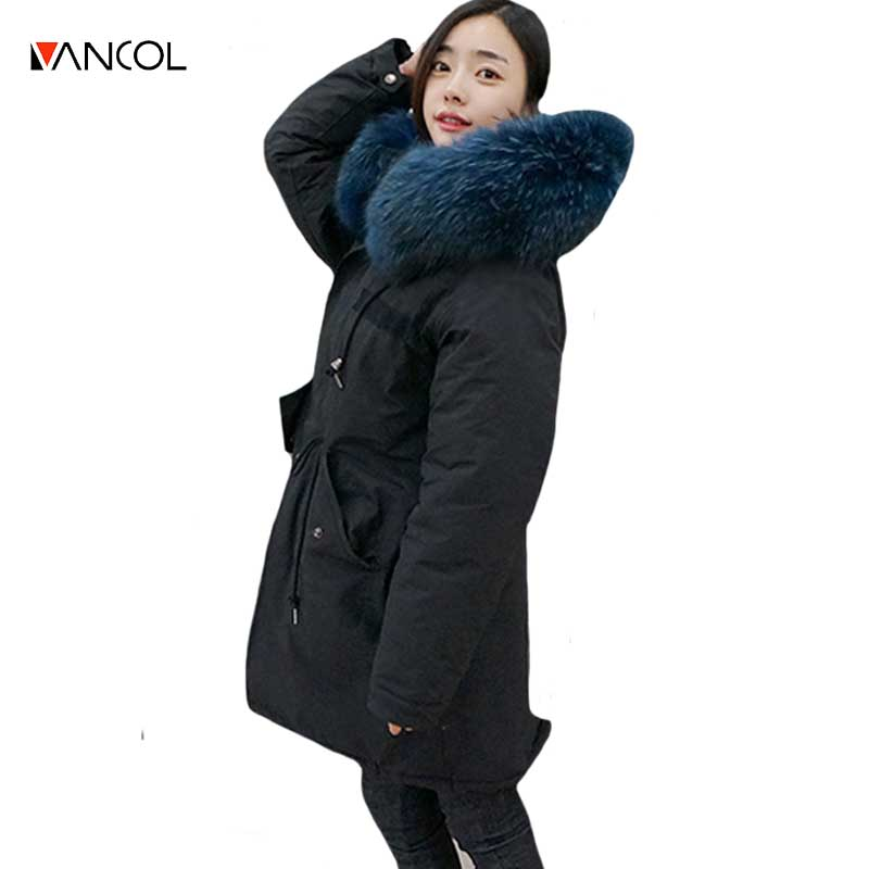 ФОТО vancol female black hot winter jackets thick fur hooded casacos inverno mulher waisted long women coat 2016 with fur collar