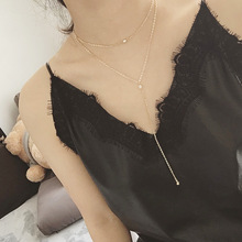 Bossimi asia-europe America hot sell tassel chain pearl double pendant necklace