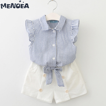 Menoea Girls Clothing Sets New 2020 Summer Fashion Girl Suits Clothes Sleeveless Stripe T-Shirt+Shorts 2Pcs Kids Clothing Sets korean girl fashion summer letter printed kids petal sleeves t shirt shorts suits pretty girl clothes