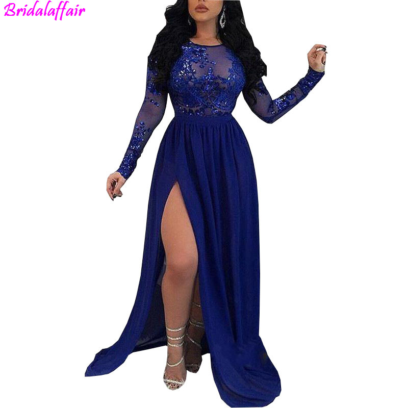 Sheer Long Sleeves Royal Blue Mermaid   Prom     Dresses   2019 Sequins Appliques Side Split Evening Gowns Backless Evening Wear   Dress
